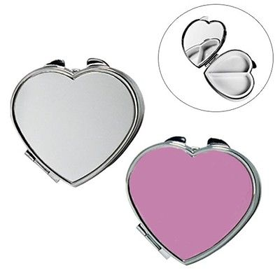 Heart Shape Metal Pill Box With Mirror