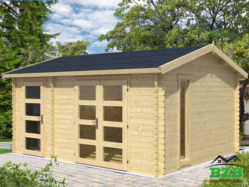 15'x12'  BZB Log Cabin Kit and Shed, 114  Sq.Ft Cabin and 57 Sq.Ft Storage