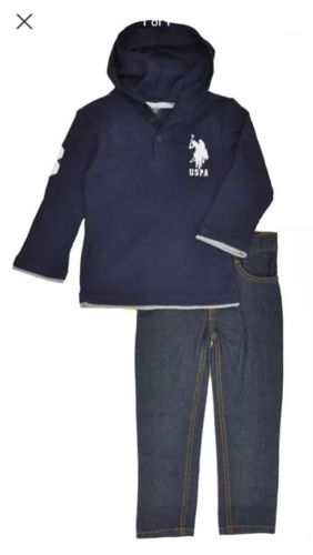 US Polo Assn Boys Navy Hooded Thermal Top 2pc Pant Set Size 4 5/6 7 $45