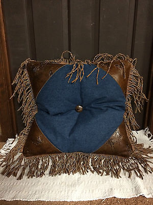 Embossed Leather & Denim Pillow w/Fringe 22x22 Horse & Western Gifts Home Decor