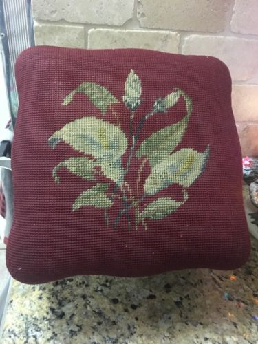 Small Antique Vintage Needlepoint Footstool Mahogany Lilies