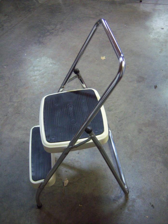 Vintage COSCO White 2-Step All Metal Folding Stool Ladder w/ Rubber Tread
