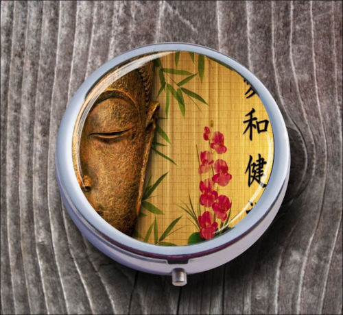 BUDDHA ZEN ATTITUDE #2 PILL BOX ROUND METAL -dmf5X