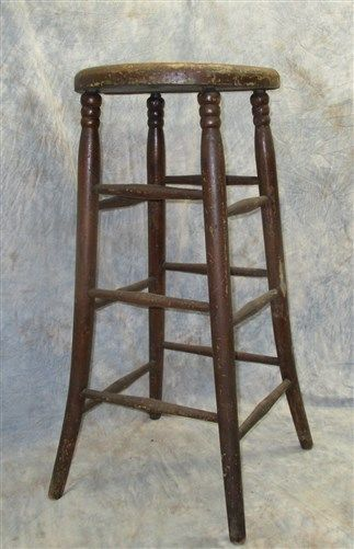 Wooden Milking Stool Chair Kitchen Bar Industrial Age Workbench Vintage Seat