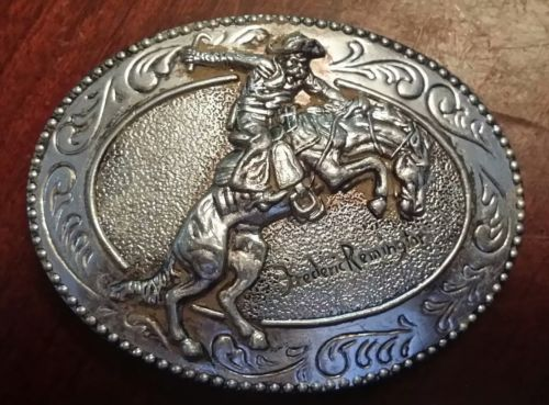 "Frederic Remington Belt Buckle ""The Broncho Buster"", Pewter, Cowboy Wild West B"