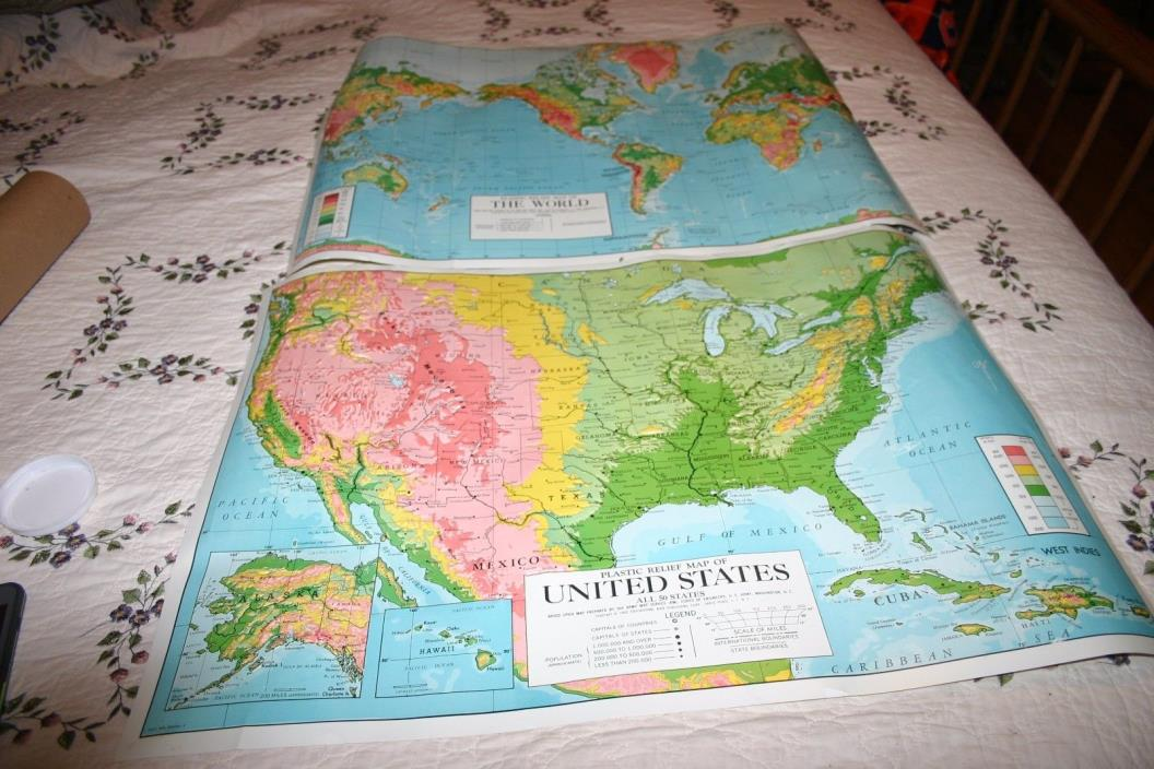 Vtg 1963 Educational Aids Publishing Co. Plastic Relief Maps USA and World Map