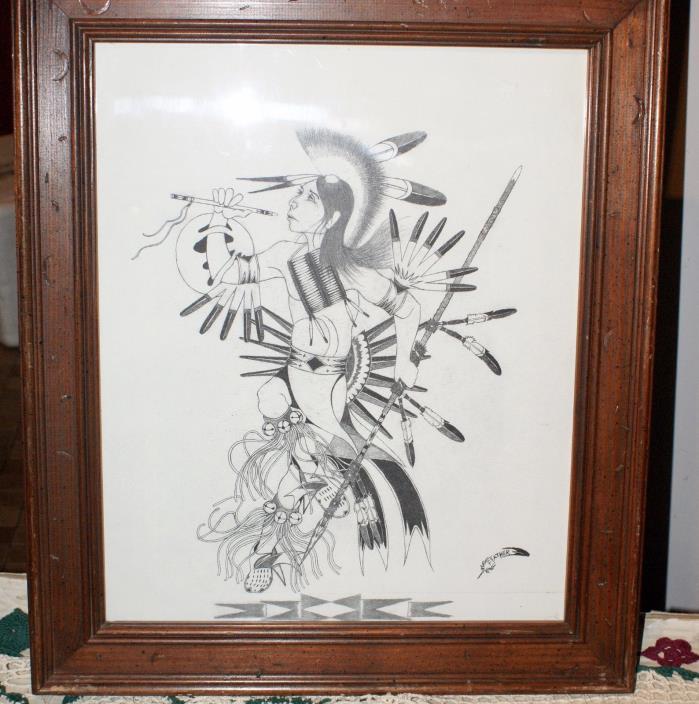 Sketch Of Lakota Warrior Signed