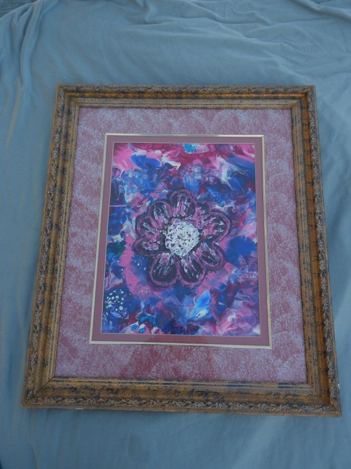 Signed Abstract Hand Painted Art 17x12 Frame 28x24 Raised Large Textured Flower