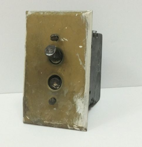 Vintage Antique solid heavy Brass Push Button Light Switch Rare