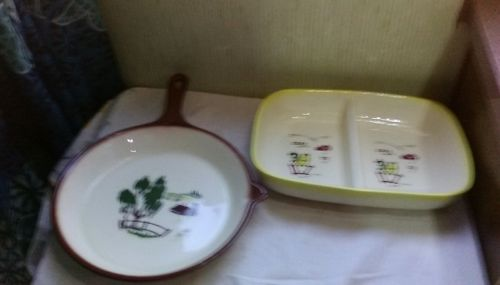 California Pottery Brock ~ Farm House Yellow Divided & Brown Pan Serving Dishes