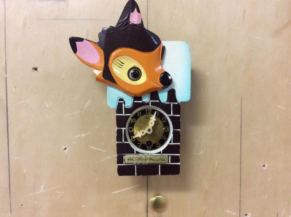 Rare Unique Collectible Vintage Disney Bambi Moving Eye Wall Clock - Working