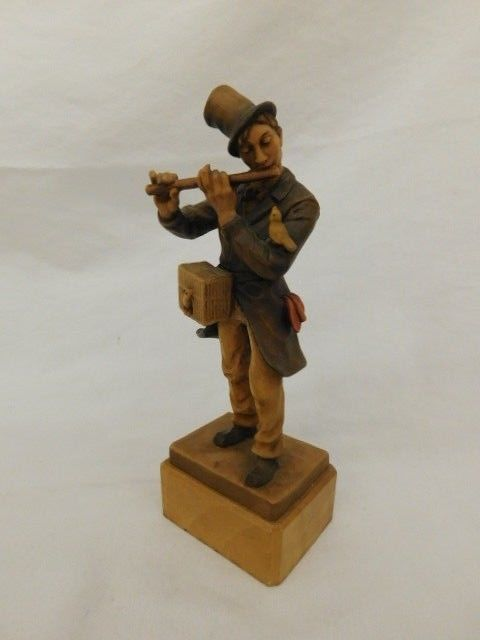 ANRI CARVED WOODEN PIED PIPER WITH BIRD IN CAGE FLUTE PLAYER FIGURE 7