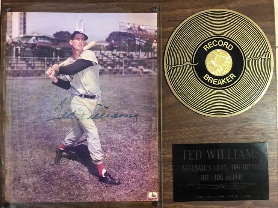 Ted Williams Signed Record Breaker Plaque