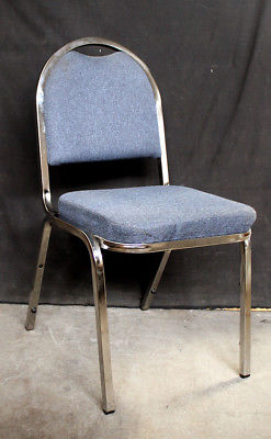 30 avail Vintage Stackable Metal Fabric Office Meeting Lobby Dining Side Chairs