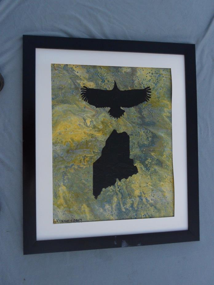 16x20 Signed Abstract Hand Painted Art with State Of Maine & Maine Bald Eagle