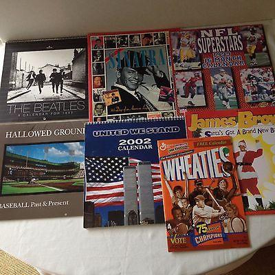 7 Great Nostalgic/Historic Calendars-Beatles,WTC, Sinatra, Rn'R, NFL,BB Stadiums