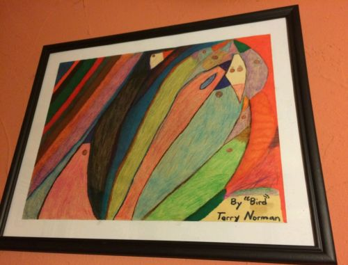 Picasso Like Abstract Hand Drawn Picture in Frame Original 2017 by Terry Norman