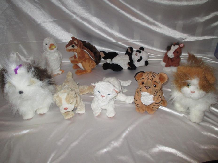 HUGE LOT 9 FURREAL FRIENDS ANIMALS KITTEN DUCK DOG SQUIRREL PANDA PUPPY TIGER