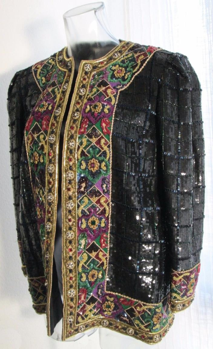 UNIQUE NOVARESE RHINESTONE,SEQUIN,BEAD & EMBROIDERY EMBELLISHED EVENING JACKET