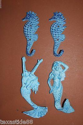 (4)pcs, MERMAIDS AND SEAHORSES WALL HOOKS, CAST IRON BEACH DECOR, BLUE, N-1,2,22