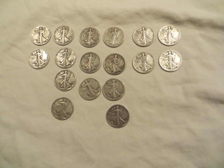 Walking Liberty Half Dollars -  17 Coins