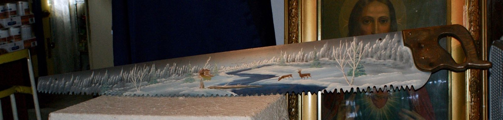 Beautiful Large Hand Saw With Hand Painted Winter In The Country Scene