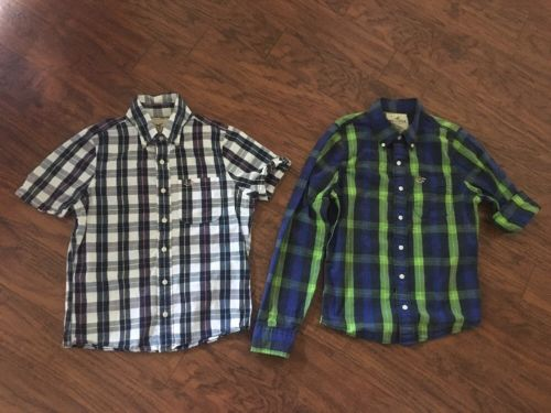 Hollister Plaid Button Down Shirts Size Small Blue Green Will Fit 12 14