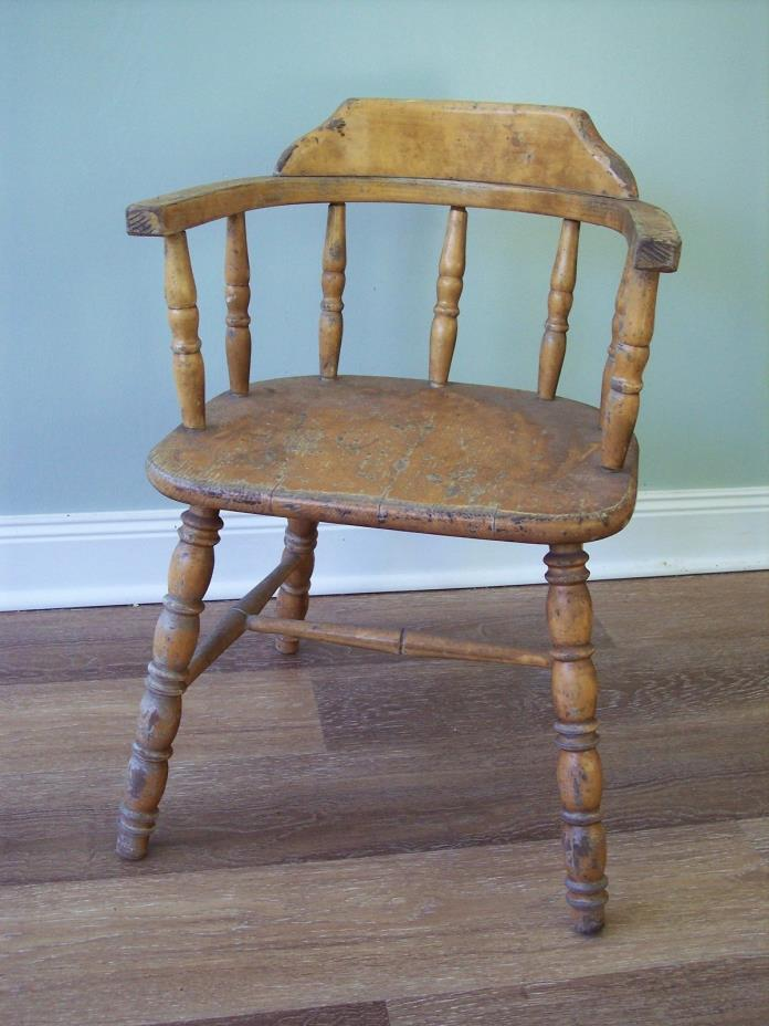 Primitive Child's Wooden Armchair, Thayer Tops for Tots, Spindle Back Windsor