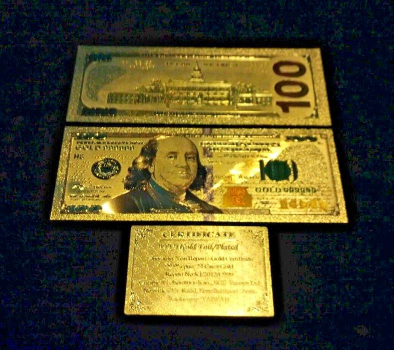 ~AMAZING NEW STYLE~.999 GOLD$100 U.S.BANKNOTE W/ COLOR &C.O.A~FREE SHIPPING~xcv