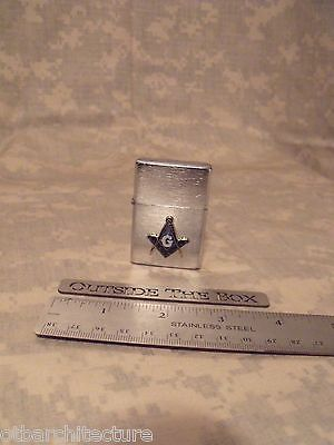 Masonic / Mason / Freemason Lighter - BRUSHED CHROME Finish - Square & Compass