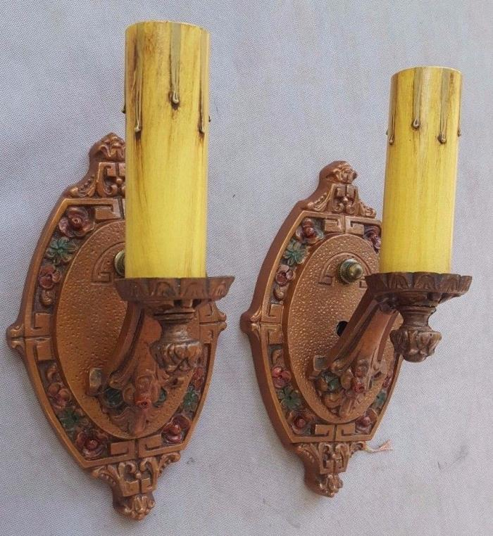 Excellent Pair of Art Deco Era Sconces, 1920's-30's, Cast Aluminum, New Wiring