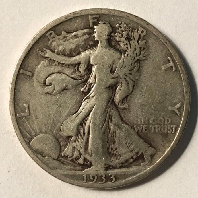 1933-S WALKING LIBERTY HALF DOLLAR FINE LOW MINTAGE