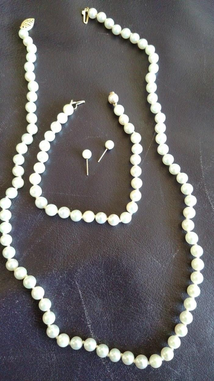 Auth Cultured 7mm Pearl 14k Necklace, 7mm Bracelet 14k Hidden Closure, Earrings