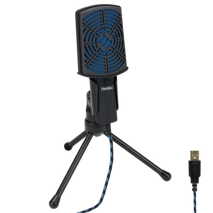 PC USB Condenser Gaming Microphone - Computer Streaming Mic Adjustable Stand Plu