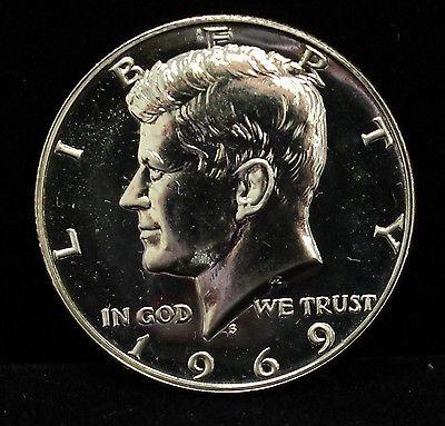 1969 Proof Kennedy Half Dollar 40% Silver GEM Cameo