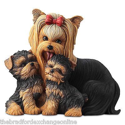 Yorkie Kisses Mama Dog and Puppies Masterpiece Sculpture: Bradford Exchange