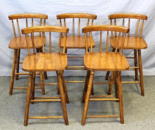 Five 5 Walnut Spindle Back Side Childs Chairs Bar Counter Stools Set Vintage