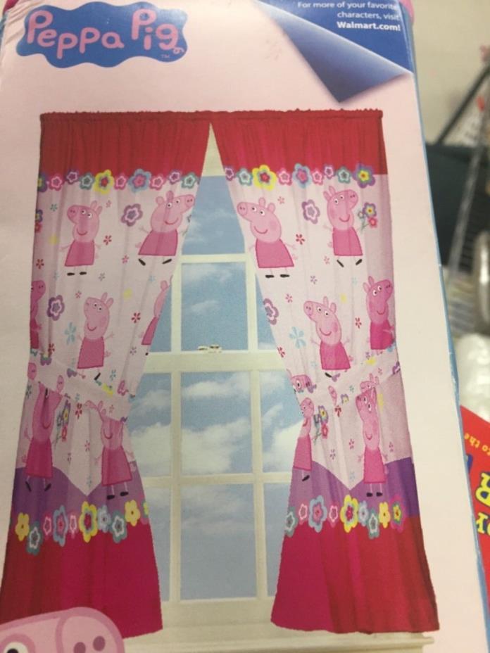 Nickelodeon Peppa Pig Kids Window Curtain Panel Flower Pink ~ Set of 2 Panels