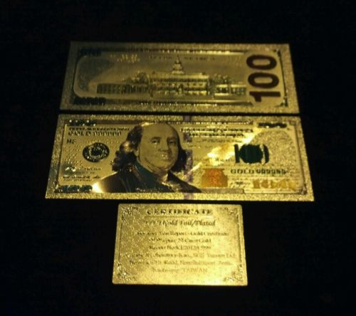 ~NEW STYLE~.999 GOLD$100 U.S BANKNOTE~STUNNING COLOR DETAIL& A COA~FAST~SHIPPING