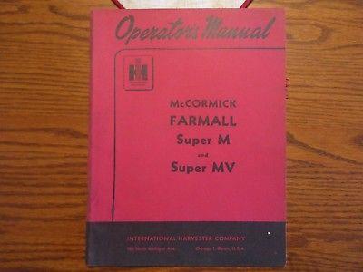 Farmall McCormick Original Super M Tractor Operator's Manual