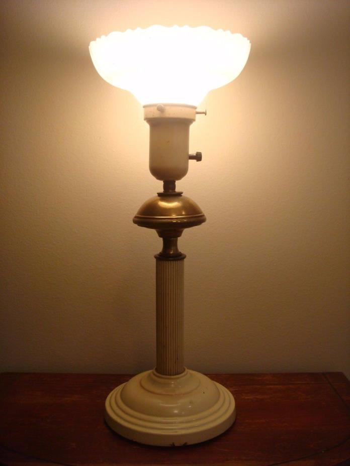 Antique Metal Brass Iron Table Lamp Toleware w/ White Glass Torchiere Shade