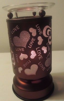 Deep Copper Bronze Touch Lamp - Hearts