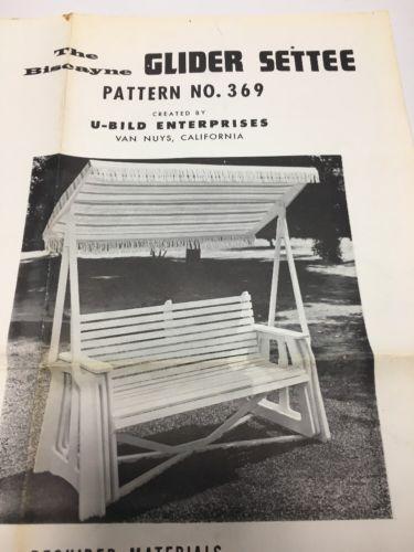 Vintage U-Bild Pattern - Glider Settee #369 - RARE