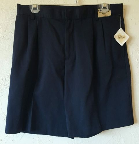 Lee School Shorts Navy Blue Pleated Front Uniform Adjustable Teflon Husky 14 NEW