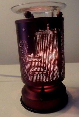 Deep Copper Bronze Touch Lamp - City Skyline