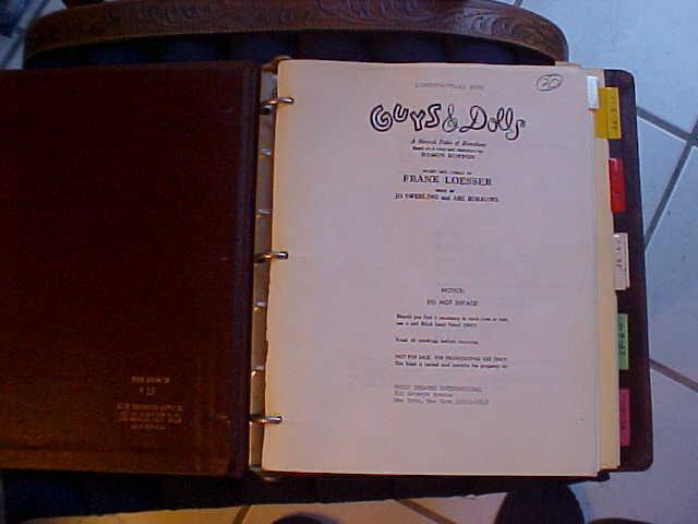Guys & Dolls Theater,movie script 1951. Piano score perfect.  Leather bound.