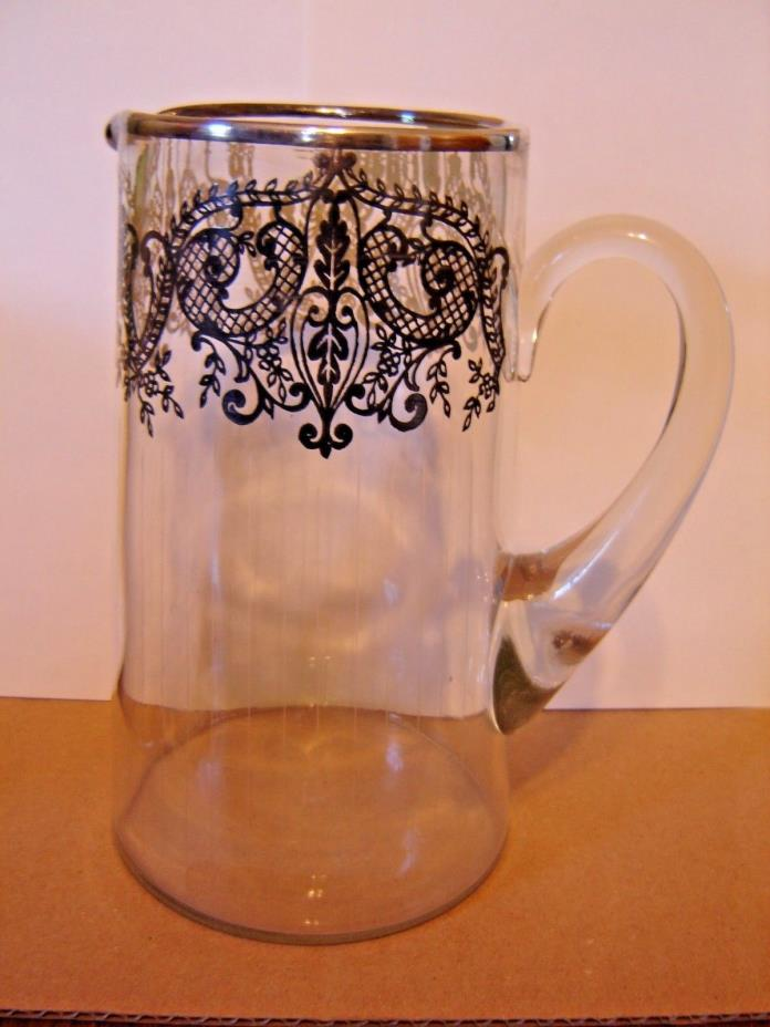 Vintage Silver Overlay Glass Pitcher 8 1/2