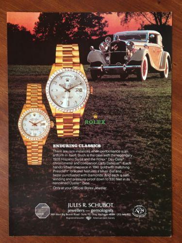 Vintage 1987 Original Print Ad GOLD ROLEX & ROLLS ROYCE ~Enduring Classics~