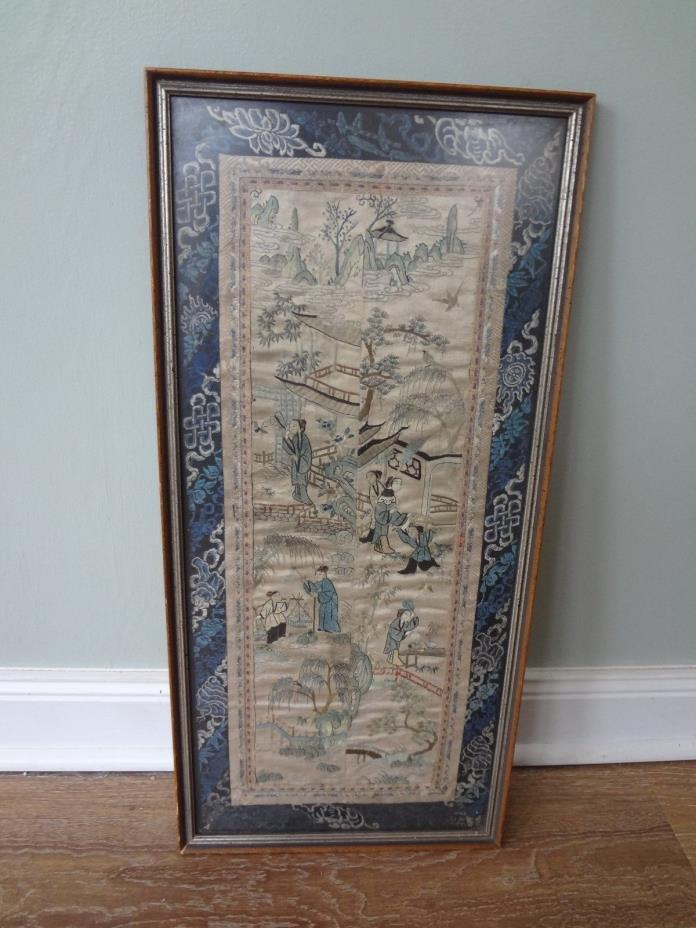 Antique Chinese Embroidered Silk Panel, Circa 1890