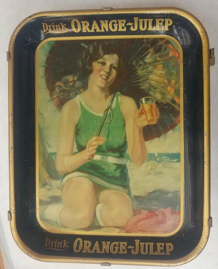 Drink Orange Julep Car Hop Tray and Window Mount Original 1920's